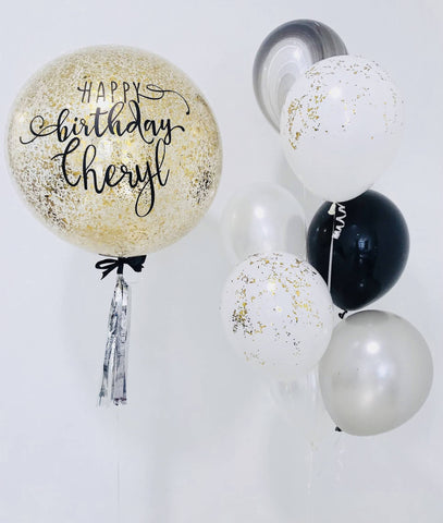 "24"" Bubble Balloon with Gold Confetti Bouquet"