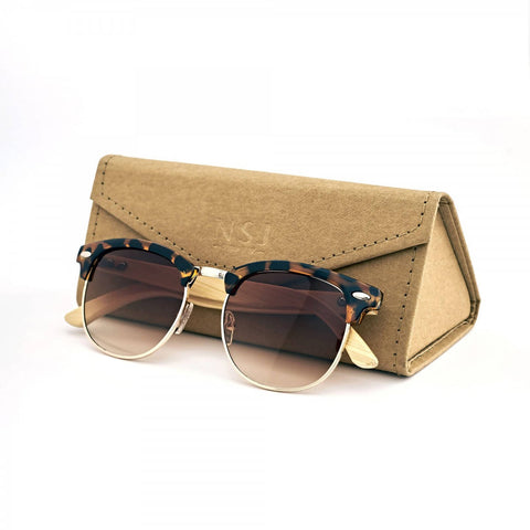 Personalized Bamboo Sunglasses with name (Clubmaster Brown) (4-6 working days)