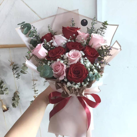 Mix Red Rose and Pink Rose Flower Bouquet (Big Size) (Kota Kinabalu Delivery Only)