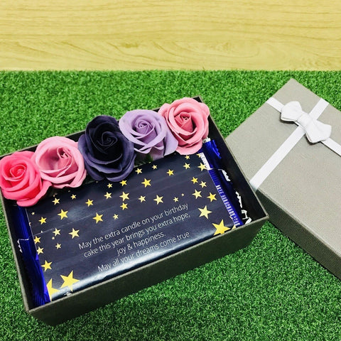 Birthday Gift Box with 5 Scented Soap Roses