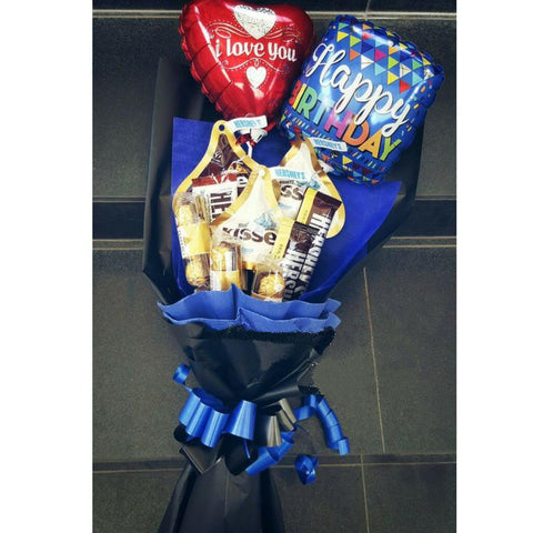 Hershey's & Ferrero Rocher Mix Bouquet with Balloons