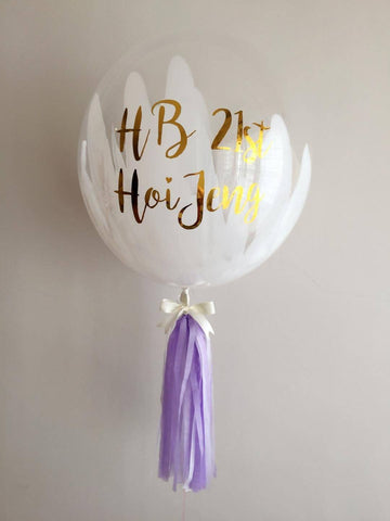 Art Painted Mini Bubble Balloon (White & Lilac)