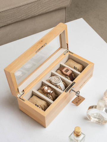 Personalized 5 Slots Beech Wood Watch Box (4-6 Working Days)