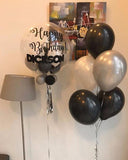Customised 'Happy Birthday' Bubble Balloon Package (Black & Grey)