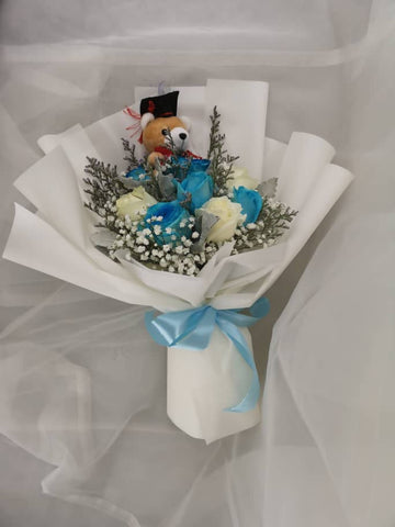 Glow Blue Graduation Bouquet