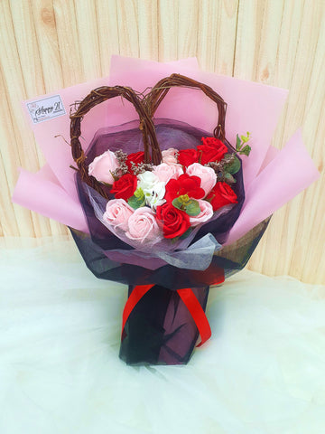 (Self Pick-up Only at Sg. Besi, KL on 14 Feb) Red & Pink Soap Rose With Love Decor (Valentine's Day 2020)