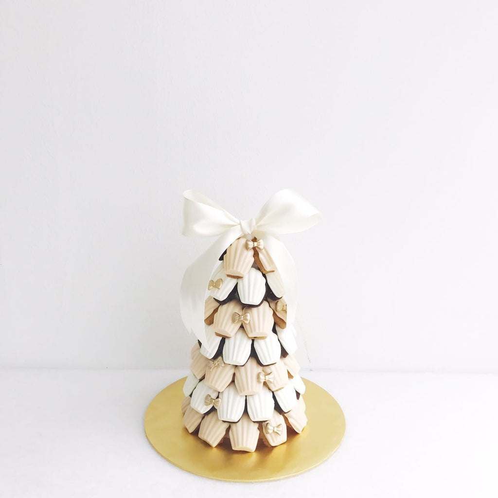 Peach & White Madeleine Tower with Mini Gold Ribbon
