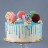 Salted Caramel Drip Cake with Macarons