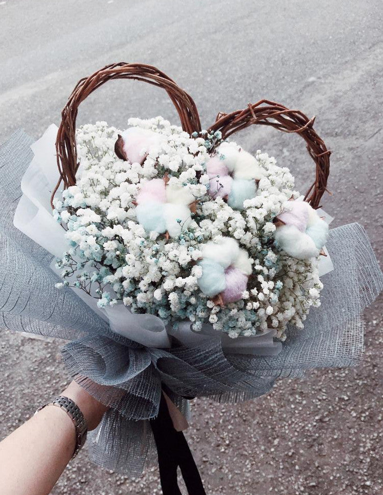 Cotton Flowers with Baby Breath