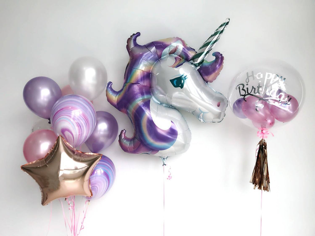 "24"" Bubble Balloon with Unicorn Balloon Bouquet in Pink, Purple & White"