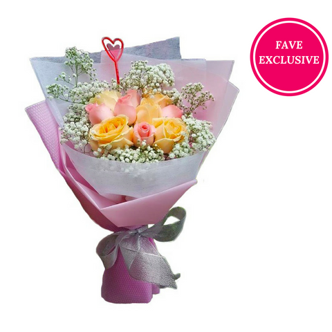 10 stalks Pink & Champagne roses (Delivery within KL/PJ)