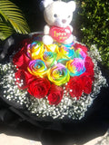 Rainbow Roses in Black