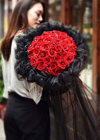 Giant Red Rose Black Lace Louis lV Bouquet