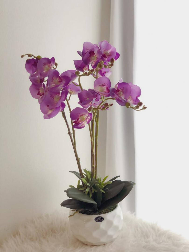 Premium Latex Artificial Special Purple Orchid Flower with Pot ( 3 Stalks)