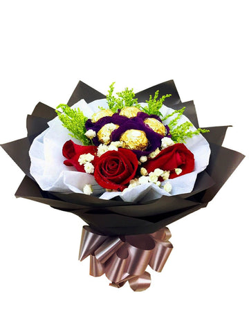 Red Rose With Ferrero Rocher  Bouquet