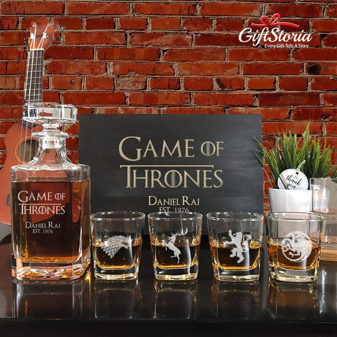 "Personalized ""Game Of Thrones"" Whiskey Decanter Set"