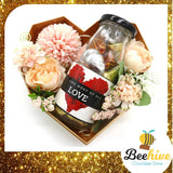Beehive Chocolate Mix Pink Flowers with Heart Shape Diamond Gift Tin and Chocolate Gift Set