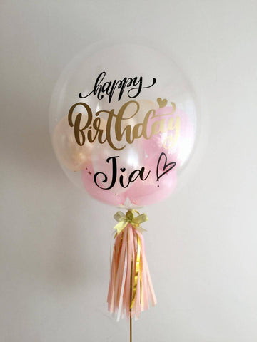"Single Pink & Peach 24"" Bubble Balloon"
