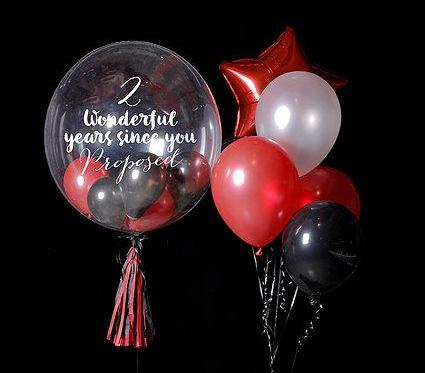 "Red & Black 24"" Bubble Balloon Bouquet"