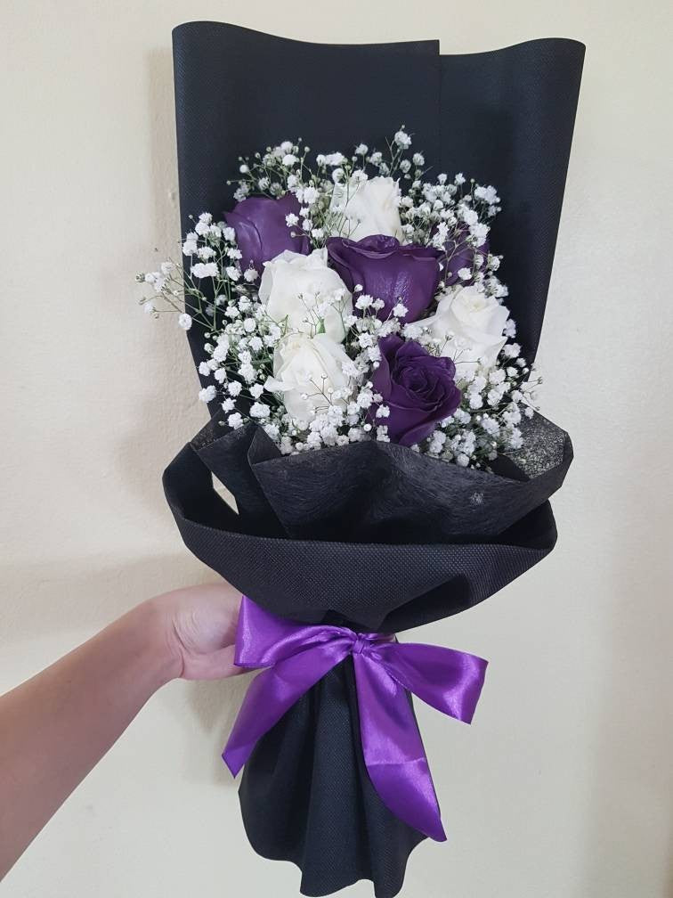 Dark Purple and White Roses Bouquet