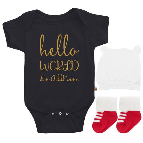 TeezBee Hello World Gold Text Boy Gift Sets