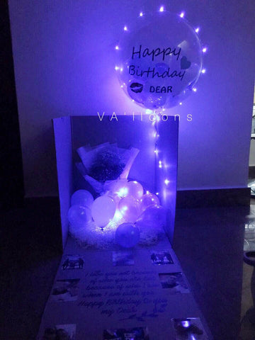 'Happy Birthday' Surprise LED Balloon Box in Blue