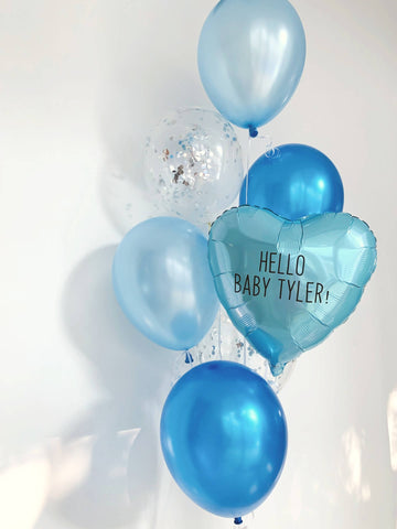 Pastel Blue Metallic Heart Bouquet