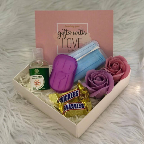 Gift Box with Sanitizer and Soap Roses