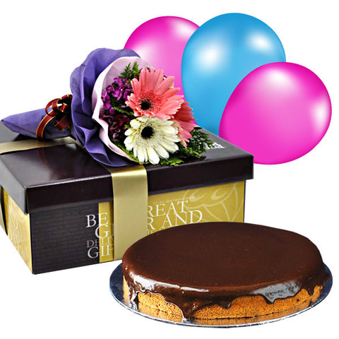 Fenelli Warmest Hazelnut Nutella Cake with Daisies & Balloons