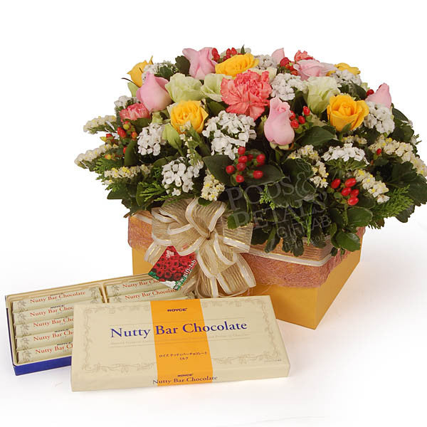 Royce Japanese Chocolate with Roses & Eustomas - Nutty Royce