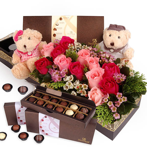 Decadence Belgian Chocolate with Roses & Bears - Sweet Memory