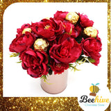 Beehive Chocolate Maroon Flowers with Ferrero Rocher