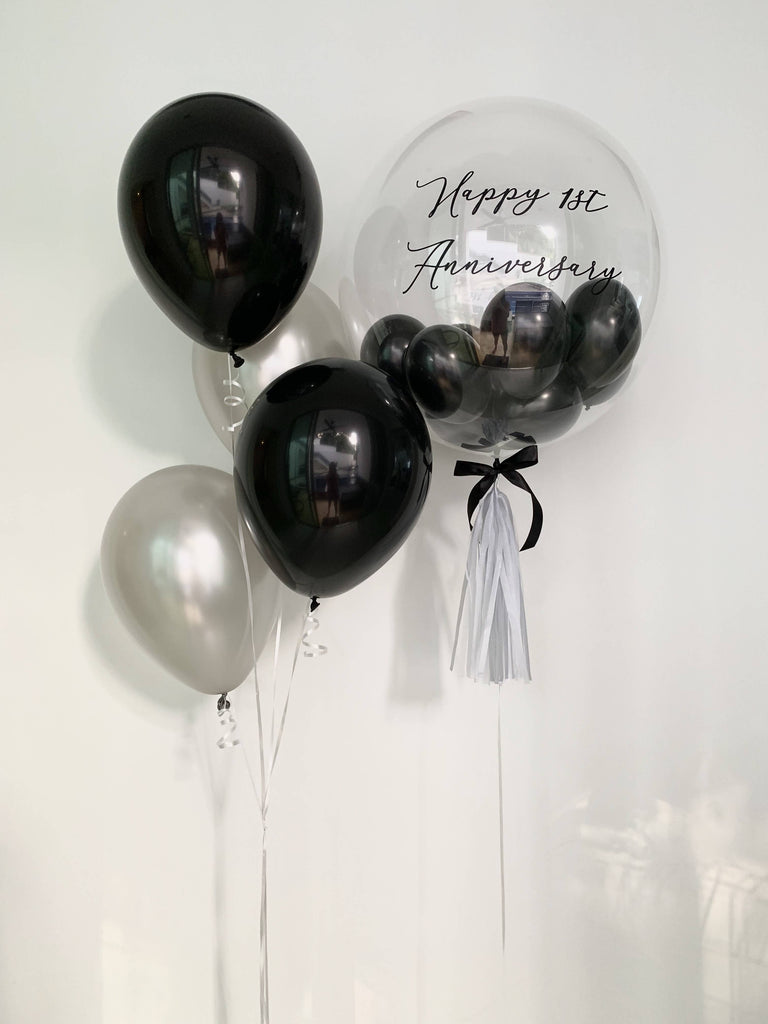 Black And Silver Bubble Balloon Bouquet