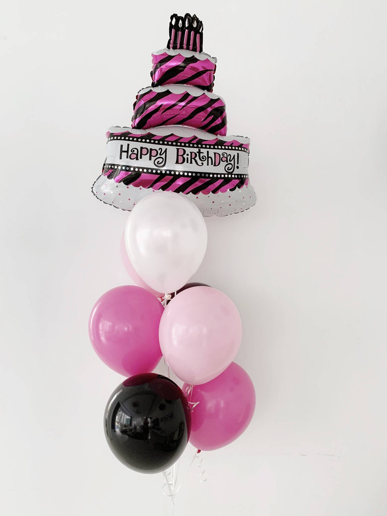 Triple Layer Birthday Cake Foil Balloon Bouquet