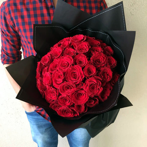 Red in Black (24 Red Roses wrapped in black) - MOTHER'S DAY 2019