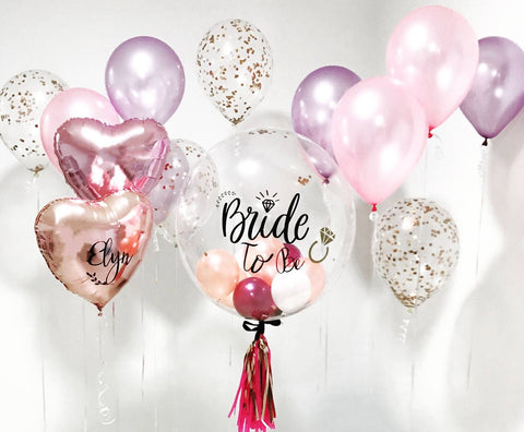 "24"" Bubble Balloon in Rose Gold, Burgundy & White Balloon Bouquet"