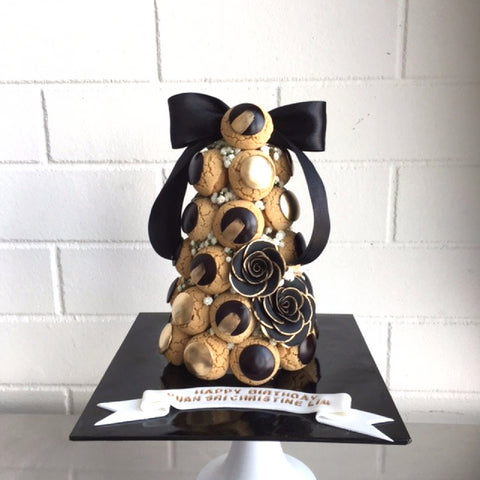 Golden Black Croquembouche Tower