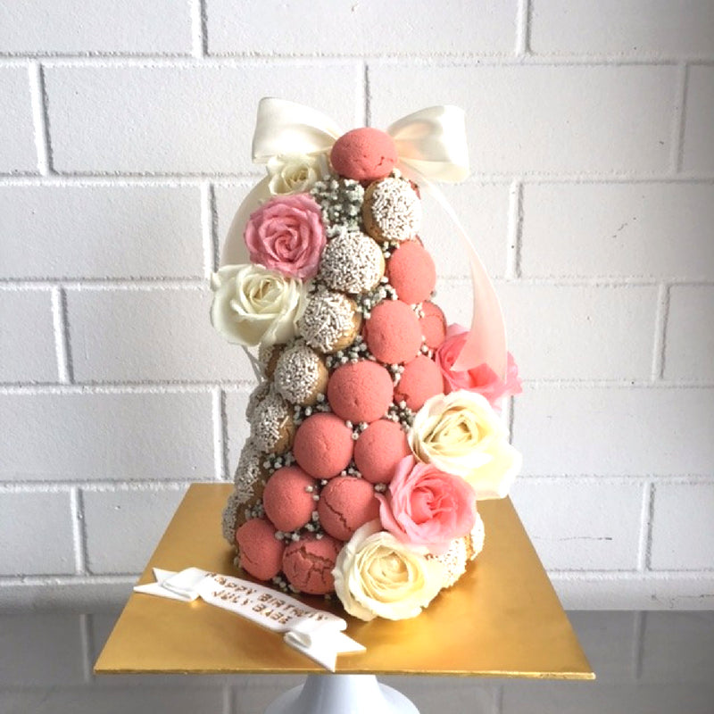Coral Peach Croquembouche Tower