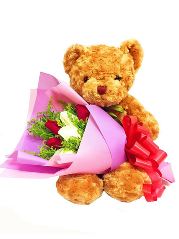 Rose Bouquet With Teddy bear (Valentine's Special)
