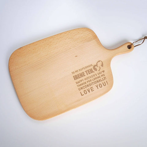 Personalised Wooden Cutting Board with Wordings and Icon(Est. 4-6 Working Days)