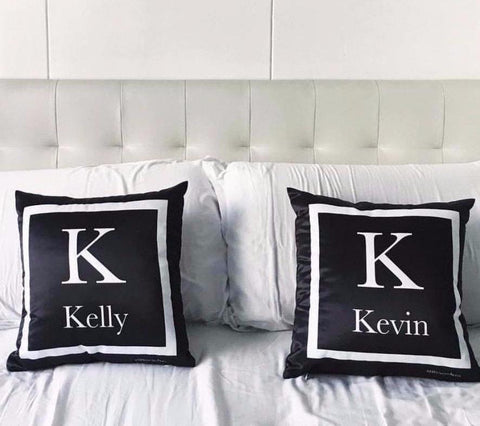 Black Monogram Cushion (Pre-order 2-4 weeks)