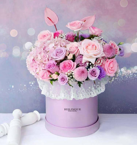 D Pink Rose Alice Wonderland Flower Box Il