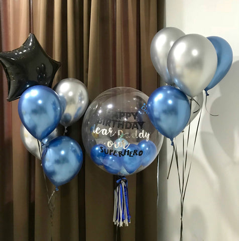 "24"" Bubble Balloon in Blue & Silver with Chrome Balloons and Dazzle Star"