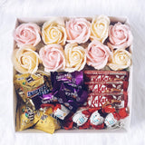 Chocolates Gift Box with 10 Scented Soap Roses
