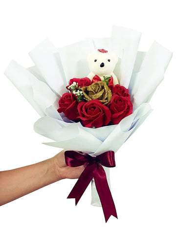 Gold & Red Soap Rose With Bear Bouquet