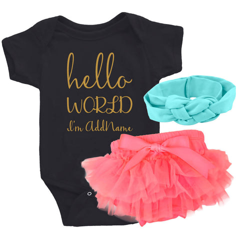 TeezBee Hello World Gold Text Girl Gift Sets