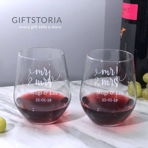 Mr & Mrs Personalised Couple Stemless Wine Glass Set (6-8 working days)