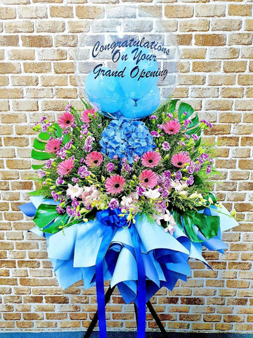 Blue Gerbera Grand Opening Flower Stand