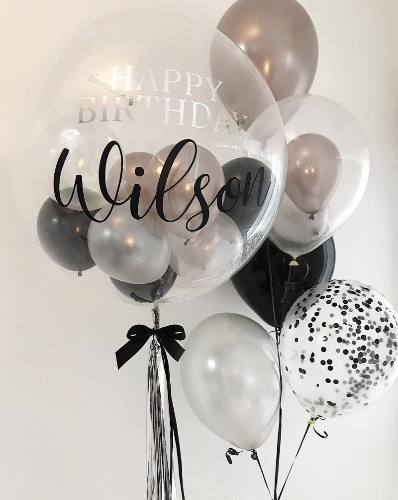 24'' Monochrome Bubble Balloon Package