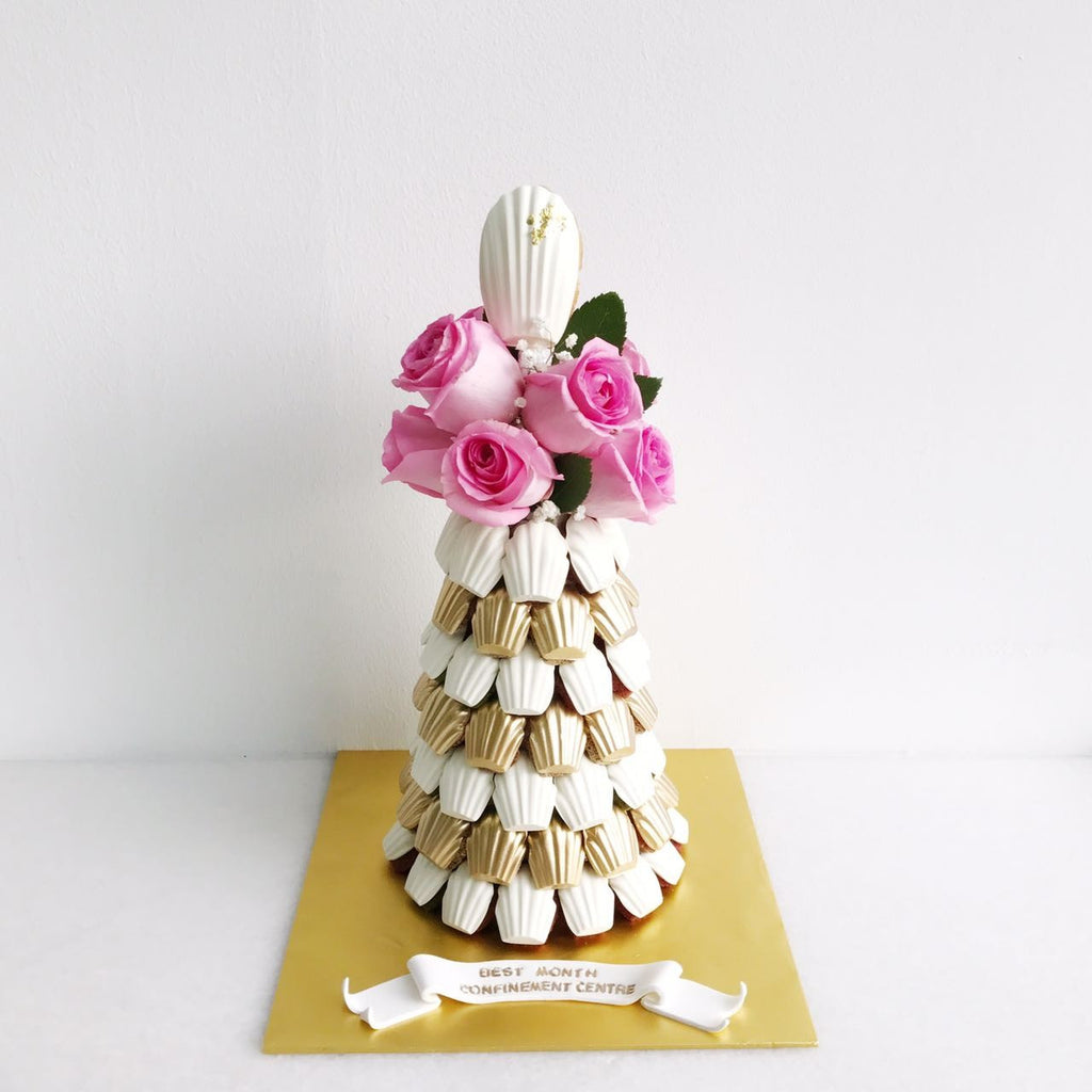 L'ange Signature Floral Madeleine Tower (White & Gold Theme, Pink Roses)